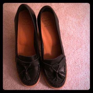 Swedish Hasbeens Tassel Loafers Heels Black